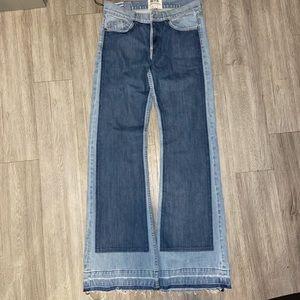 Revice Denim wide leg two-tone jeans